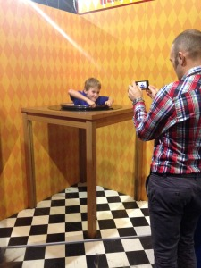 Boy playing with the magic mirror