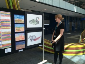Miss Gemma O'Loughlin presenting Fiona Stanley Hospital Student Art Competition finalists. Photo by Saskia Tjahja