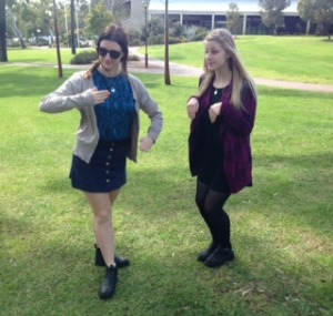 Charlotte Westrip (left) and Jade Galambosi (right) getting into character.