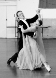Des Gee and Danielle Courtney, show casing a beautiful Waltz pose at InStep Dance Studio in Bellevue.