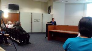 Lynn MacLaren speaking at Murdoch University about her Same-sex Marriage Bill