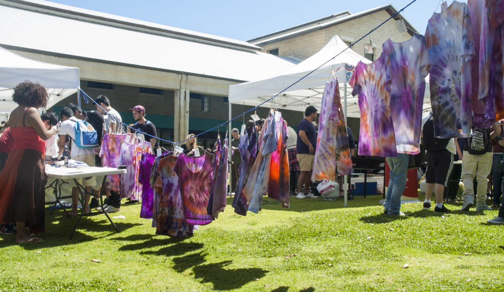 The do-it-yourself tie-dye booth was very popular amongst students.