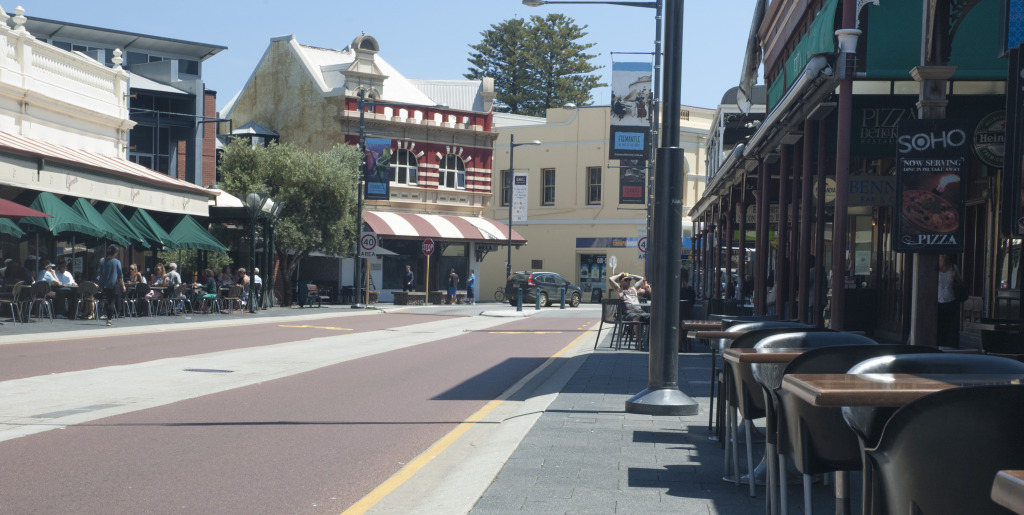 The popular Fremantle cappuccino strip is often bustling with patrons.