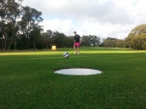 Ashely Hamilton playing Footgolf at Wembley Golf Course