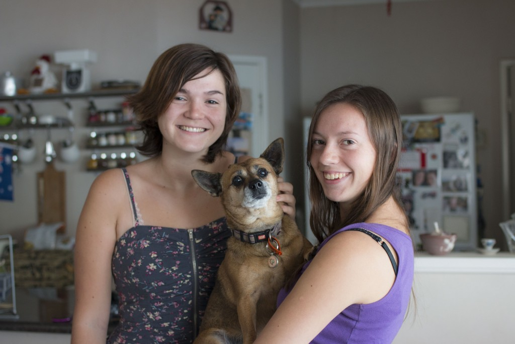 Kirsten and Alice with Missy in her home