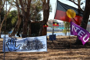 Protest banners on Heirrison Island