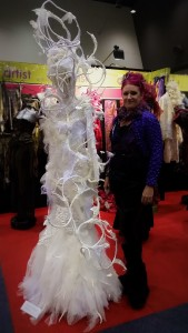 Svenja with one of her most popular designs, titled 'Isolda'.