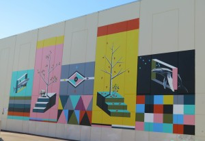 The mural painted by Brenton See at the Woolworths building in Fremantle for Public 2015