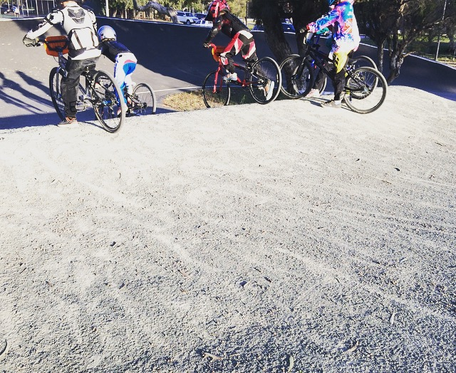 BMX riders racing at Southside BMX.