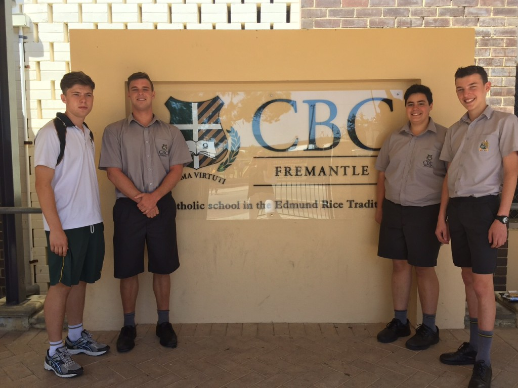 Four CBC students who took part in the 2015 Philippines' immersion trip.