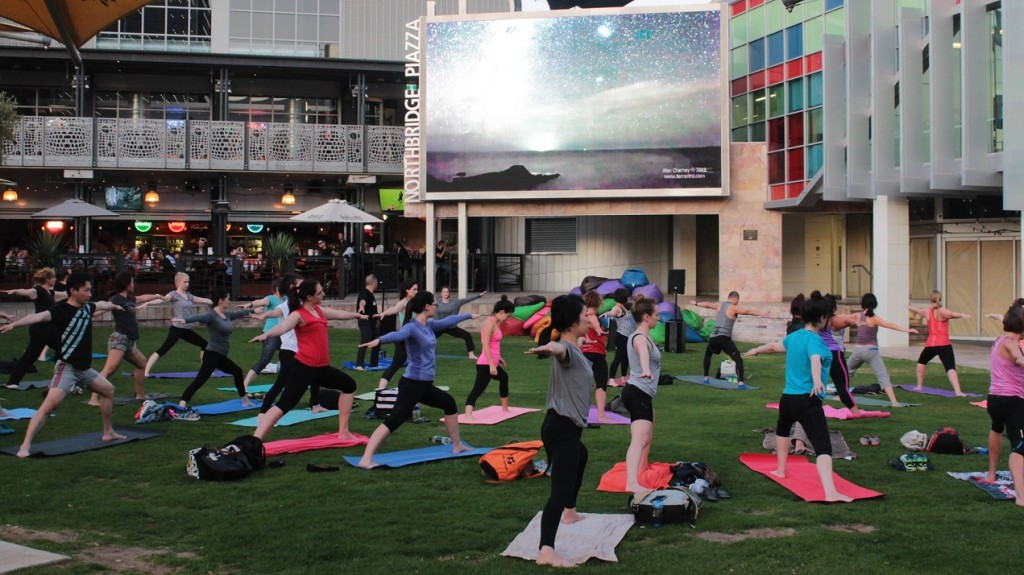 The Get City Fit yoga class at the Northbridge Piazza.