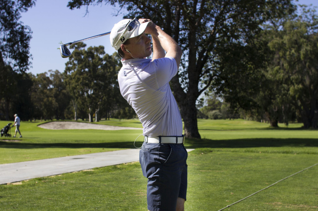 Brett Rumford winner of five European tour on the driving range at Royal Perth Golf Club. Brett will be competing with other international hopefuls in February.