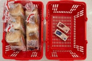 Monthly shop of no choice: the minimum cost of a period equals five loafs of bread and 75 cents.