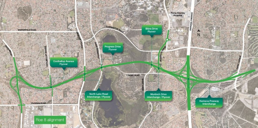 The Perth Freight Link plan, where the section in green is the contentious Roe 8 extension. Credit: Main Roads WA