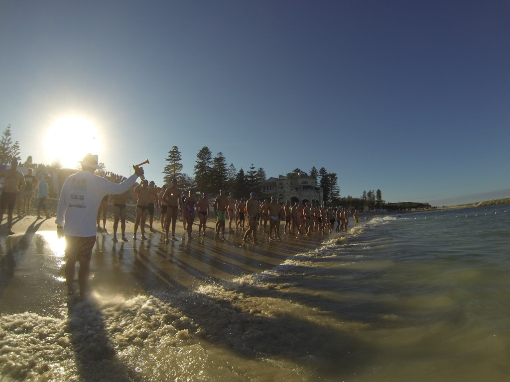 The starting line for the 2015 Rottnest Channel Swim. Photo courtesy of Aussies in Action.