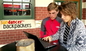 Backpackers Quentin Jenot and Cristina Pistorio looking online for work, Fremantle
