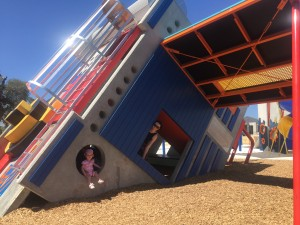 Hayley Waight and her daughter Indy playing at the Robot Park