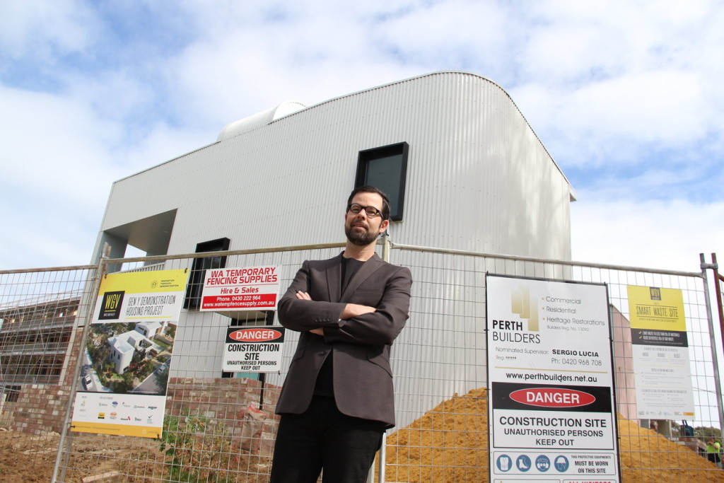 Under Construction: Fremantle Architect David Barr stands in front of the nearly complete Gen Y Step House.