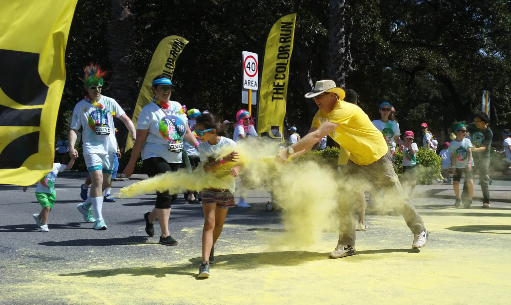 Volunteers threw coloured powder at each participant.