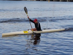 A kayaker competes in the annual Paddle Challenge, in the lead up to the Avon Descent.
