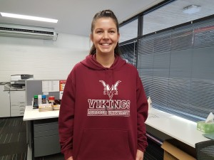 Sports officer Teagan Jefferys shows off her team spirit in her Vikings hoodie