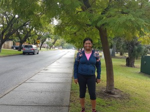 Hit the road Jacs: An Ardross resident pictured beside a jacaranda tree. Many jacarandas in the area are dying and need to be replaced according to the council.
