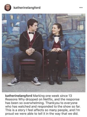 Reasons why: Perth actress Katherine Langford took to Instagram, above, to defend the story told in the show. Picture: Instagram.