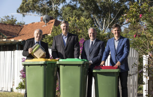 From left: Russel Aubrey, Mayor of City of Melville; Cameron Schuster, SMRC Chairperson; Jim O'Neill, Mayor of East Fremantle; Brad Pettit, Mayor of Fremantle. Photo credit: Supplied by SMRC.