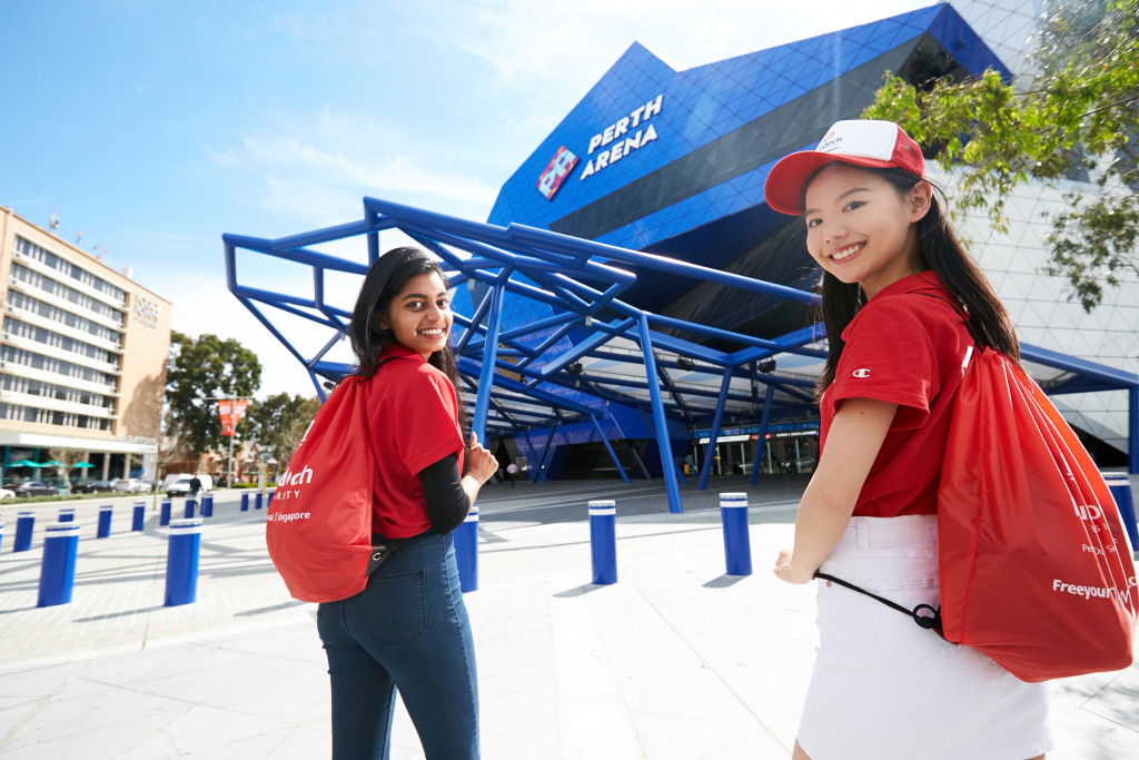 Two Murdoch University students excited about the opportunity to work in the Perth Arena. Credit: Photographer Travis Hayto