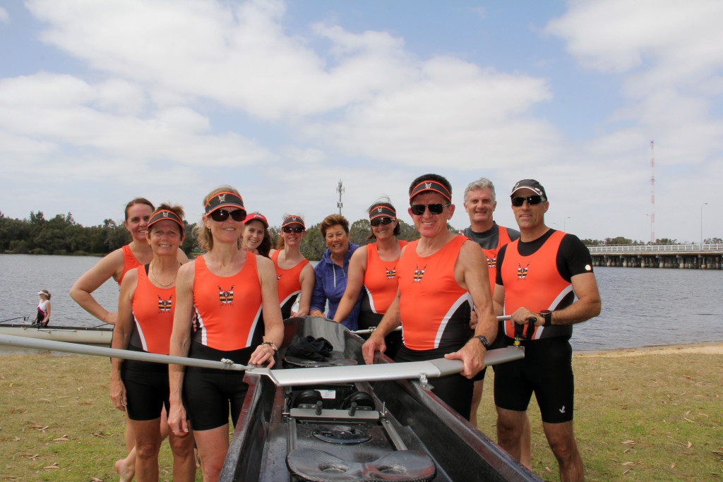 Melbourne-bound rowers from Curtin University Boat Club with their coach Jo Boserio and coxswain Katherine Duncan are all smiles after an 8.6km race on Sunday.