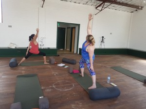 Karen and Jo during their Hatha Yinga Yang Yoga class for VHW  Picture; Tiffany Bond