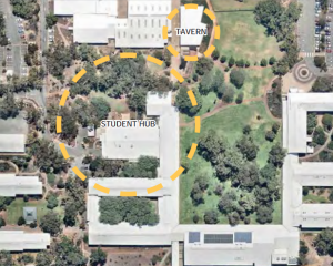 The Student Hub will take up a large area of campus, not far from the Murdoch Tavern
